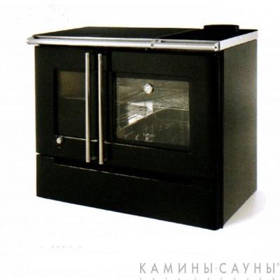 Кухонная дровяная печь Cares II (черная) с верхним подключением дымохода (Hergom, Испания)
