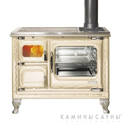 Кухонная дровяная печь DEVA II 100 (бежевая) с чугунной варочной поверхностью (Hergom, Испания)