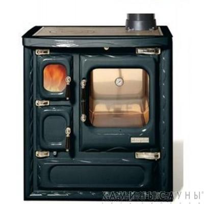 Кухонная дровяная печь DEVA II 75 (черная) с чугунной варочной поверхностью (Hergom, Испания)