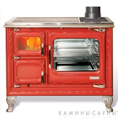 Кухонная дровяная печь DEVA II 100 (красная) с чугунной варочной поверхностью (Hergom, Испания)