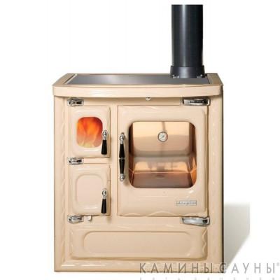 Кухонная дровяная печь DEVA II 75 (бежевая) с витрокерамической варочной поверхностью (Hergom, Испания)