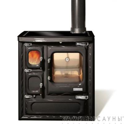 Кухонная дровяная печь DEVA II 75 (черная) с витрокерамической варочной поверхностью (Hergom, Испания)