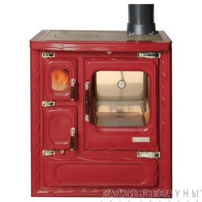 Кухонная дровяная печь DEVA II 75 (красная) с чугунной варочной поверхностью (Hergom, Испания)