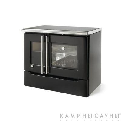 Кухонная дровяная печь Cares (черная) с задним подключением дымохода (Hergom, Испания)