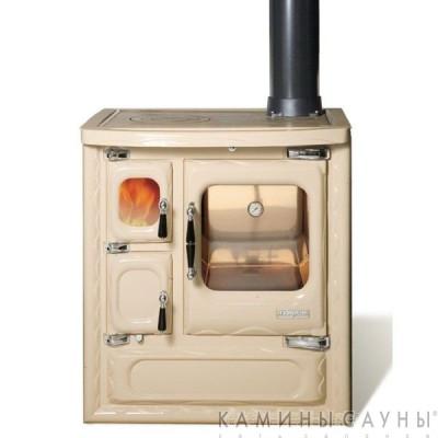 Кухонная дровяная печь DEVA II 75 (бежевая) с чугунной варочной поверхностью (Hergom, Испания)