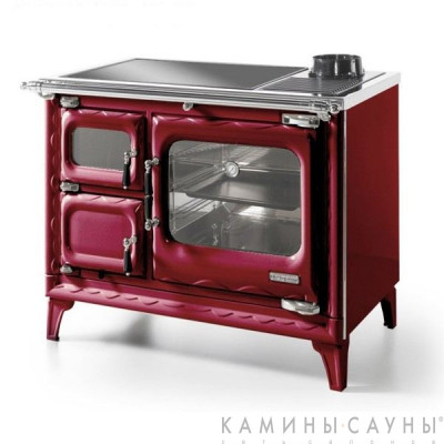 Кухонная дровяная печь DEVA II 100 (красная) с витрокерамической варочной поверхностью (Hergom, Испания)