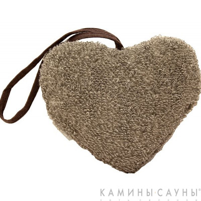 Мочалка махровая Сердце, коричн. серия, Финляндия