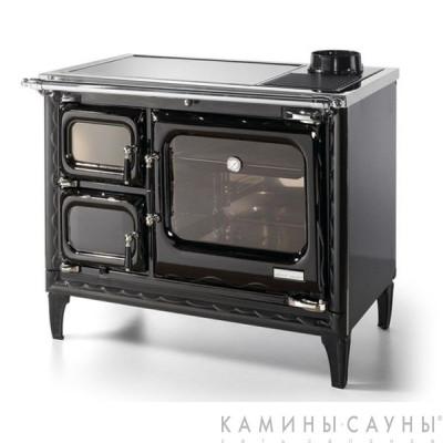 Кухонная дровяная печь DEVA II 100 (черная) с витрокерамической варочной поверхностью (Hergom, Испания)