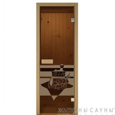 """Дверь для сауны """"Банный день"""" 70х190мм"""
