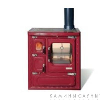 Кухонная дровяная печь DEVA II 75 (красная) с витрокерамической варочной поверхностью (Hergom, Испания)