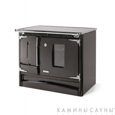 Кухонная дровяная печь Besaya (черная) с задним подключением дымохода (Hergom, Испания)